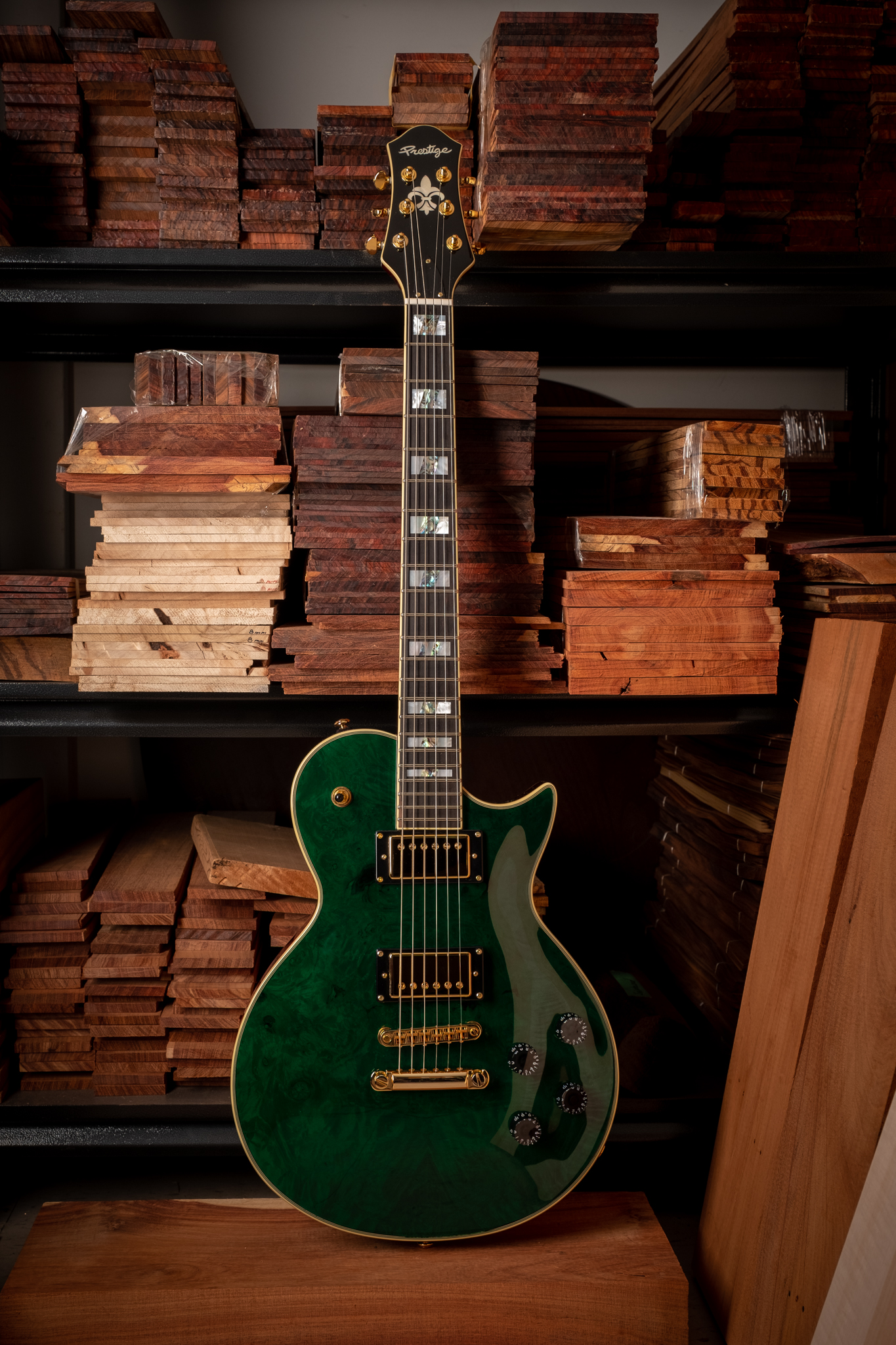 SOLD OUT<br />Custom Shop Emerald Green Heritage Premier Burl Maple